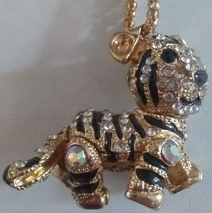 Betsey Johnson Jewelled Tiger Necklace Pendant